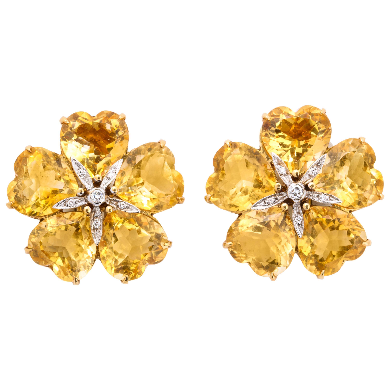 Michael Kanners Citrine Diamond Gold Flower Earrings