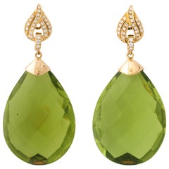 Michael Kanners Faceted Green Amber Diamond and Gold Drop Earrings
