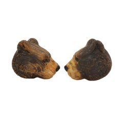 Michael Kanners Finely Carved Bear Cufflinks