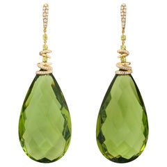 Michael Kanners Green Amber Peridot Diamond Gold Drop Earclips