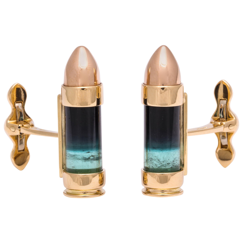 Michael Kanners Green and Black Tourmaline Gold Bullet Cufflinks