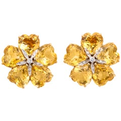 Michael Kanners Heart Shape Citrine Diamond Gold Flower Earrings