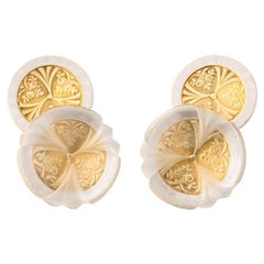 Michael Kanners Hybrid Vintage and Contemporary Gold and Rock Crystal Cufflinks