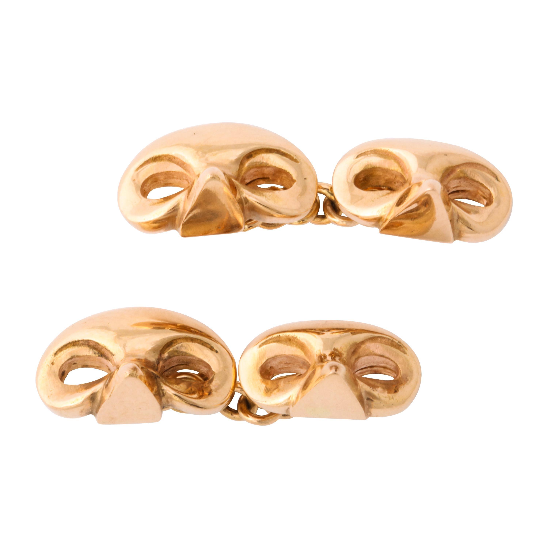 Michael Kanners Rose Gold Mask Cufflinks