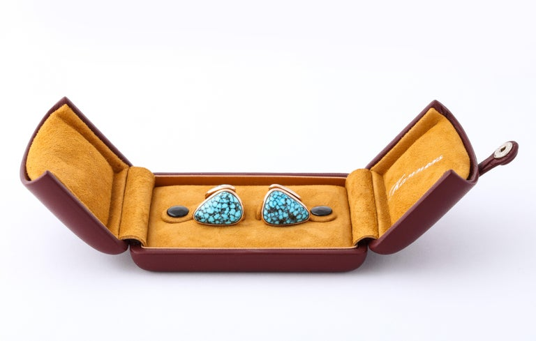 Michael Kanners Kingman Turquoise Rose Gold Cufflinks For Sale 6
