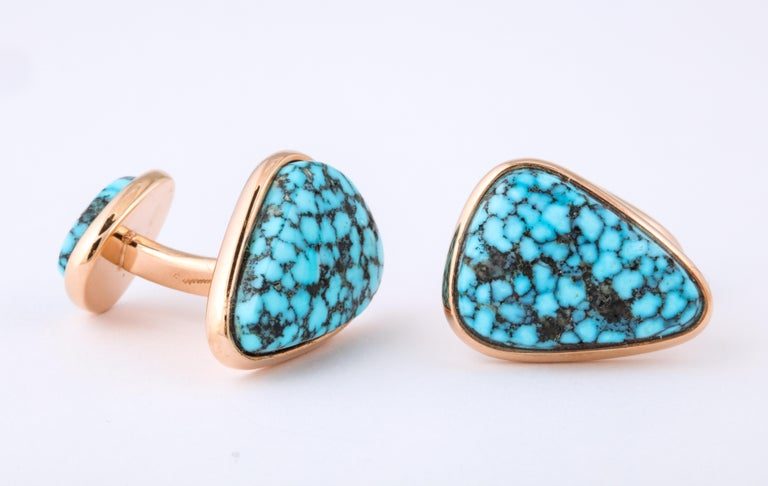 Michael Kanners Kingman Turquoise Rose Gold Cufflinks In New Condition For Sale In Bal Harbour, FL