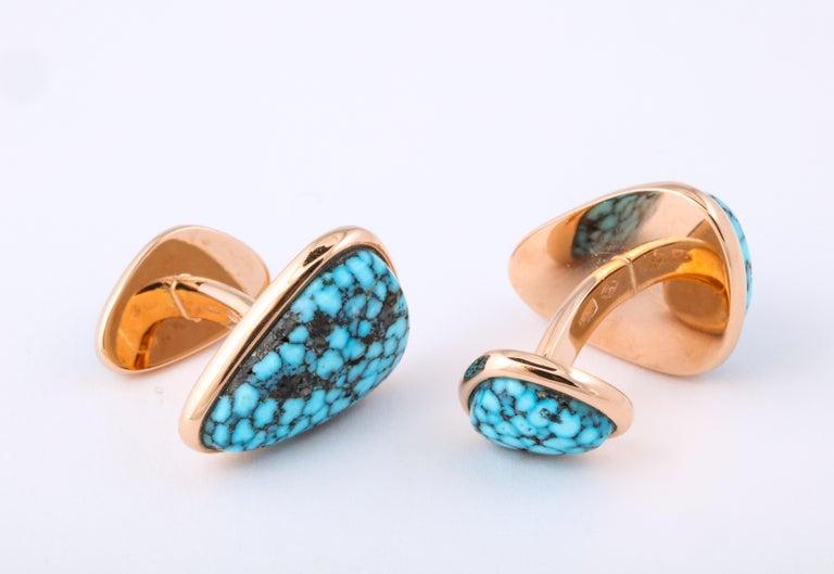 Women's or Men's Michael Kanners Kingman Turquoise Rose Gold Cufflinks For Sale