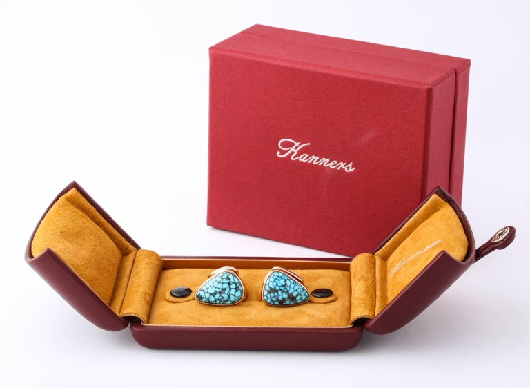 Michael Kanners Kingman Turquoise Rose Gold Cufflinks For Sale 4