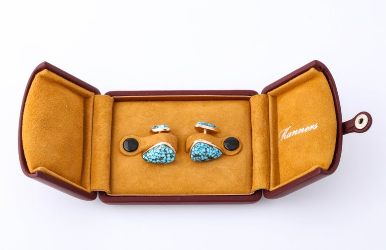 Michael Kanners Kingman Turquoise Rose Gold Cufflinks For Sale 5
