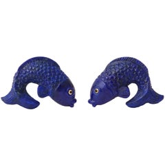 Michael Kanners Lapis Lazuli and Gold Fish Cufflinks