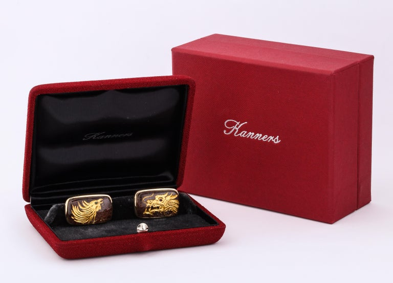 Michael Kanners One of a Kind Dragon and Phoenix Cufflinks For Sale 3
