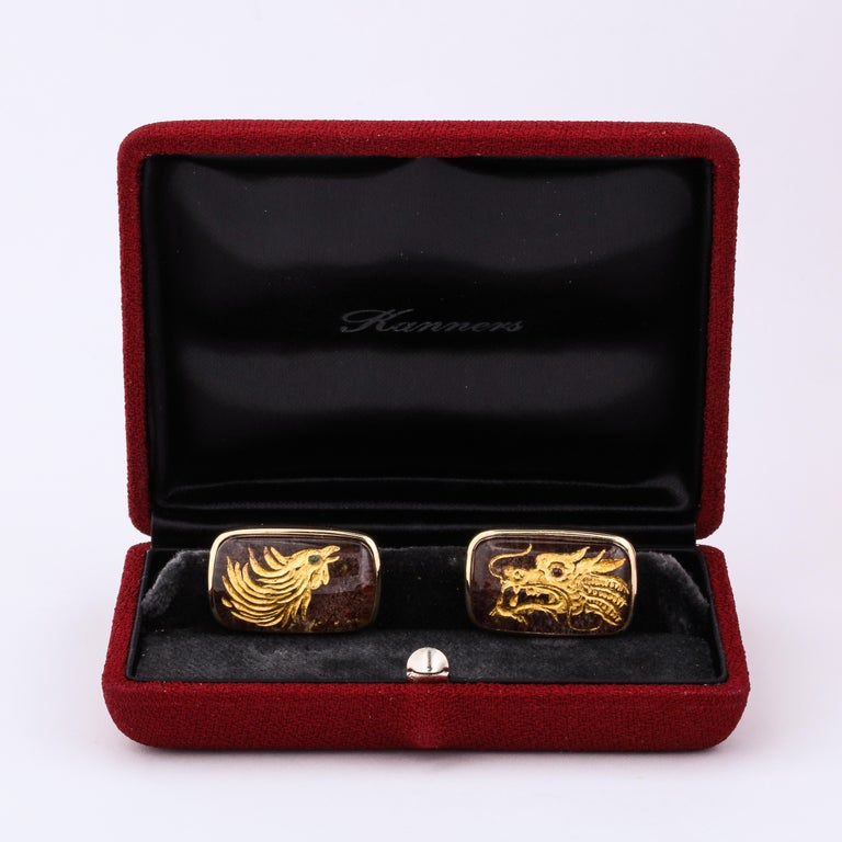 Michael Kanners One of a Kind Dragon and Phoenix Cufflinks For Sale 4