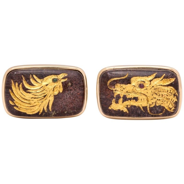 Michael Kanners One of a Kind Dragon and Phoenix Cufflinks For Sale