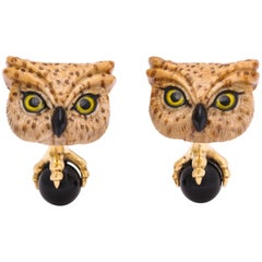 Michael Kanners One of a Kind Owl Cufflinks