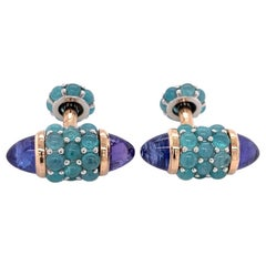 Michael Kanners One of a Kind Paraiba Tourmaline Tanzanite Cufflinks