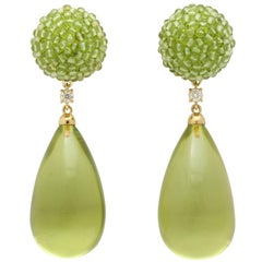 Michael Kanners Peridot Diamond Gold Green Amber Drop Earrings