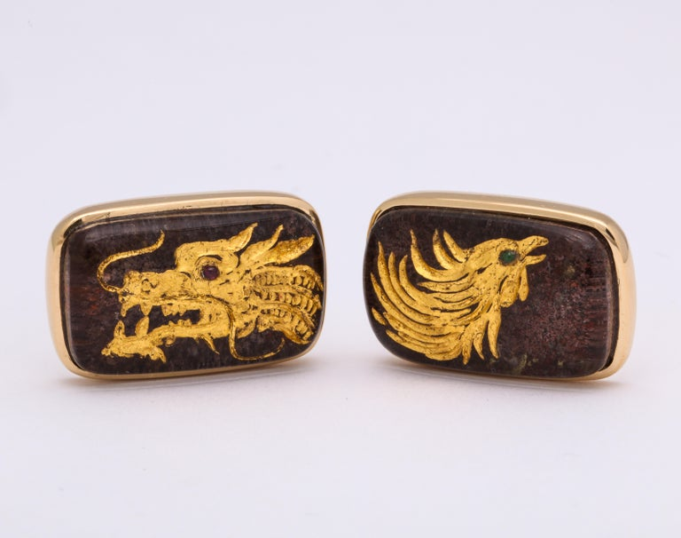 The dragon and phoenix are the most powerful yin yang couple representing a happy marriage.  As symbols of success and harmony, they appear in everything from the architecture of the Imperial Palace to classical art and literature.    In this one of