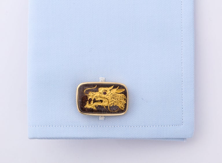 Cabochon Michael Kanners Phoenix and Dragon Cufflinks For Sale