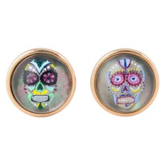 Michael Kanners Reverse Enamel Rock Crystal Rose Gold Mask Cufflinks