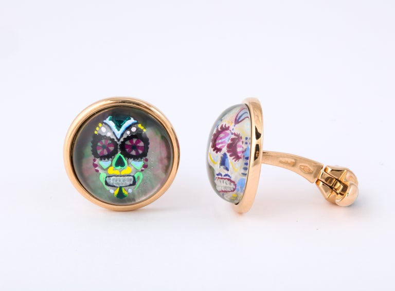 Michael Kanners Rose Gold Rock Crystal Enamel Skull Cufflinks In New Condition For Sale In Bal Harbour, FL