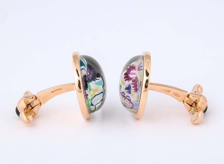 Michael Kanners Rose Gold Rock Crystal Enamel Skull Cufflinks For Sale 2