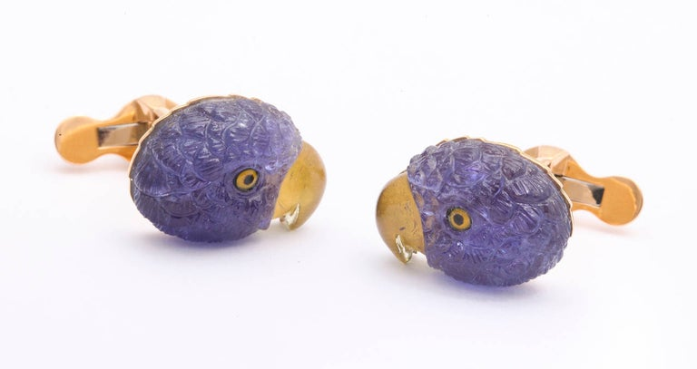 Mixed Cut Michael Kanners Tanzanite and Tourmaline Parrot Cufflinks For Sale