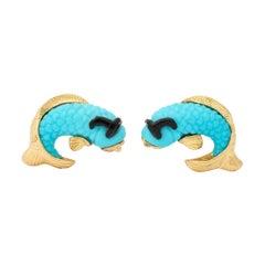 Michael Kanners Turquoise Onyx Gold Fish Cufflinks