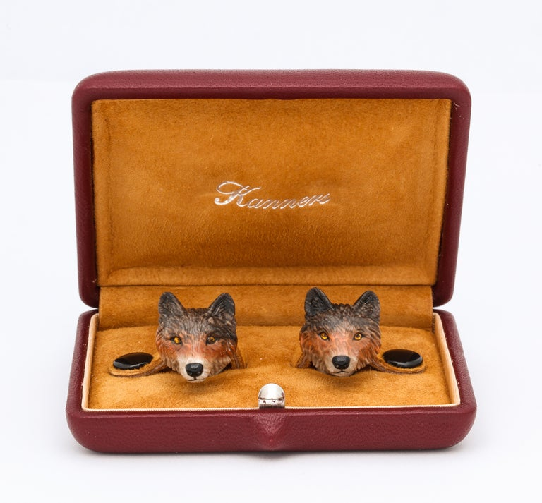 Michael Kanners Wolf Cufflinks In New Condition For Sale In Bal Harbour, FL