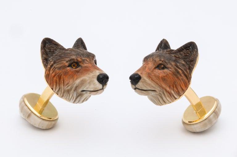 Women's or Men's Michael Kanners Wolf Cufflinks For Sale