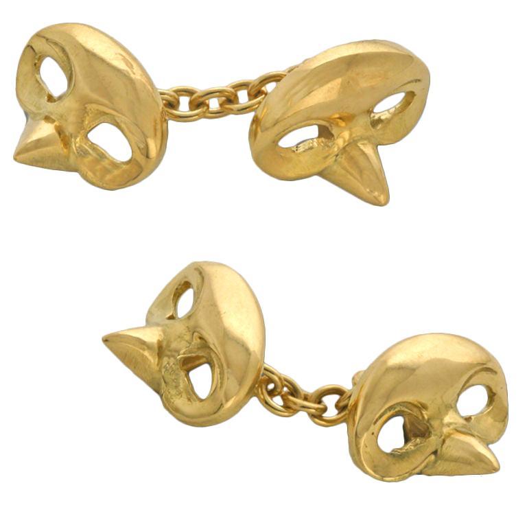 Michael Kanners Yellow Gold Mask Cufflinks