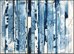 Indigo (5) (abstract landscape, tree trunks, branches, patterns, blue/tan/white)