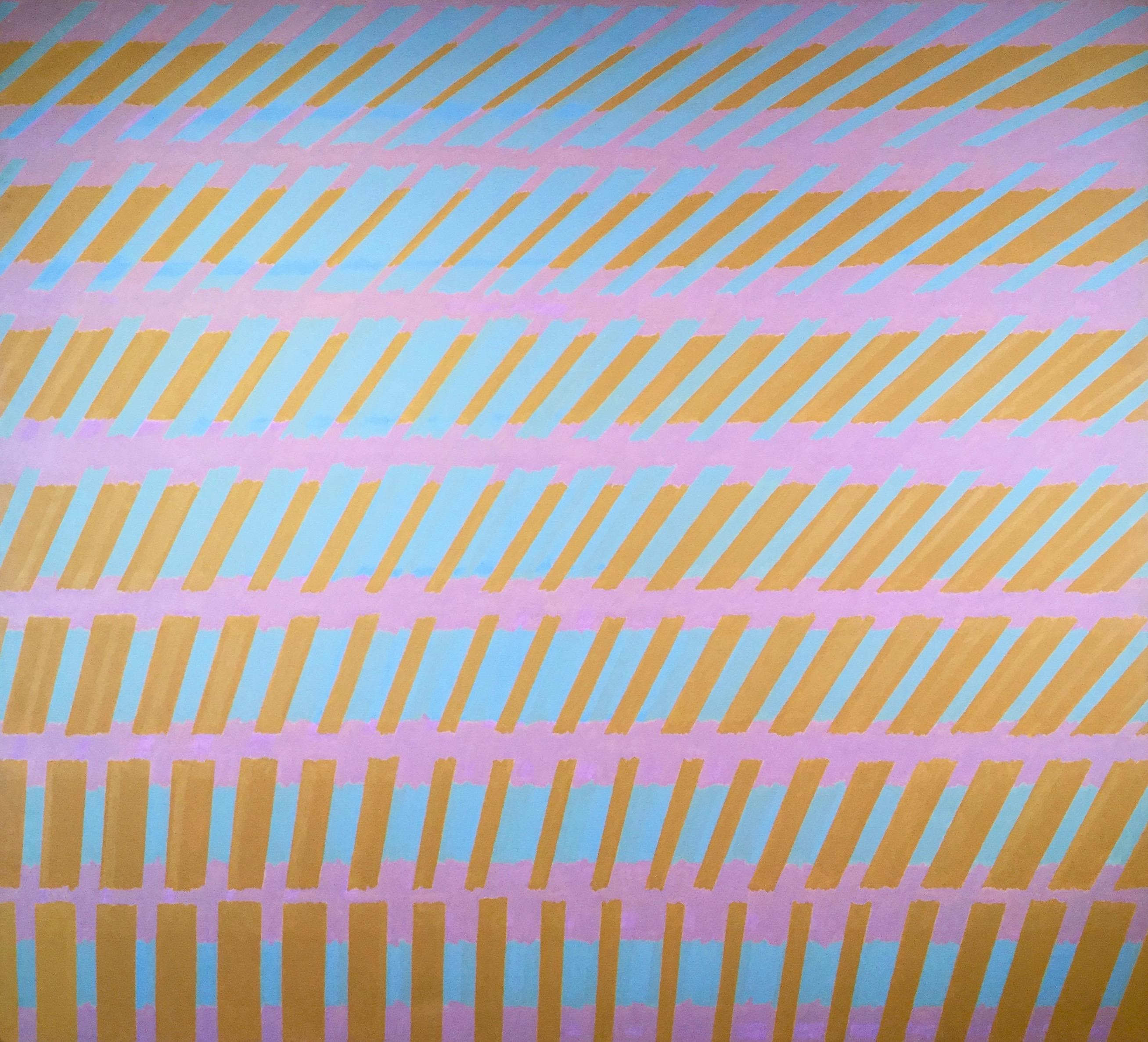 Michael Kidner, Yellow, Blue and Violet No.2, large oil. Abstract, Op Art