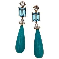 Michael Kneebone Amazonite Blue Topaz Diamond Sapphire Dangle Earrings