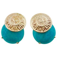 Michael Kneebone Amazonite Spiral Petroglyph Button Earrings