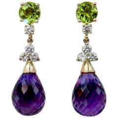 Michael Kneebone Amethyst Briolette Diamond Peridot Dangle Earrings