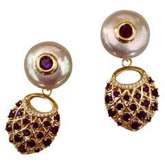 Michael Kneebone Amethyst Diamond Coin Pearl Basket Weave Dangle Earrings