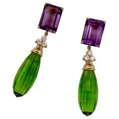 Michael Kneebone Amethyst Diamond Green Amethyst Dangle Earrings