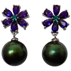 Michael Kneebone Amethyst Emerald Pistachio Tahitian Pearl Dangle Earrings