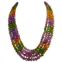 Michael Kneebone Amethyst Peridot Citrine Multi-Strand Carved Bead Necklace