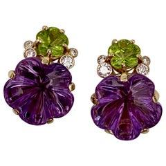 Michael Kneebone Amethyst Peridot Diamond Carved Flower Button Earrings