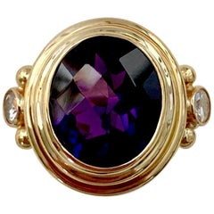 Michael Kneebone Amethyst White Diamond Archaic Style Cocktail Ring