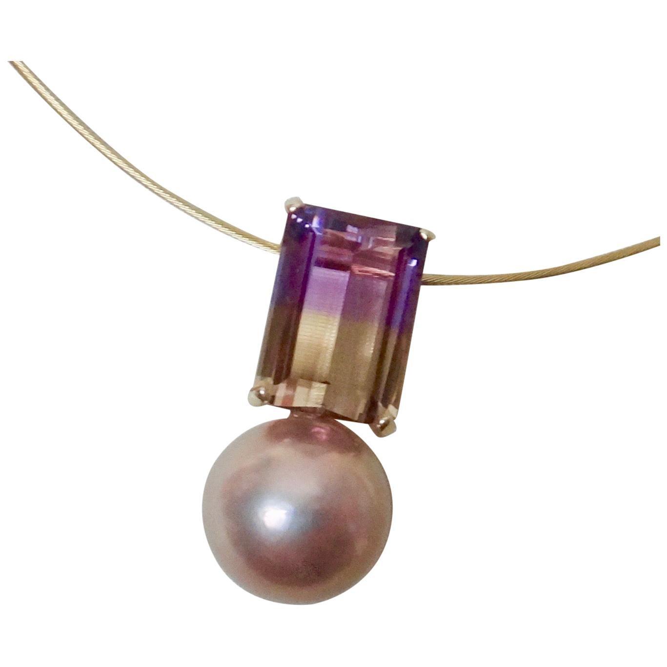 Michael Kneebone Ametrine Lavender Kasumi Pearl Pendant