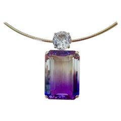 Michael Kneebone Ametrine White Sapphire Omega Pendant Necklace