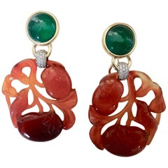 Michael Kneebone Antique Chinese Carnelian Chalcedony Diamond Dangle Earrings