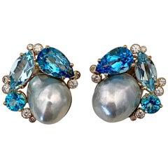 Michael Kneebone Apatite Blue Topaz Diamond 18 Karat Gold Confetti Earrings