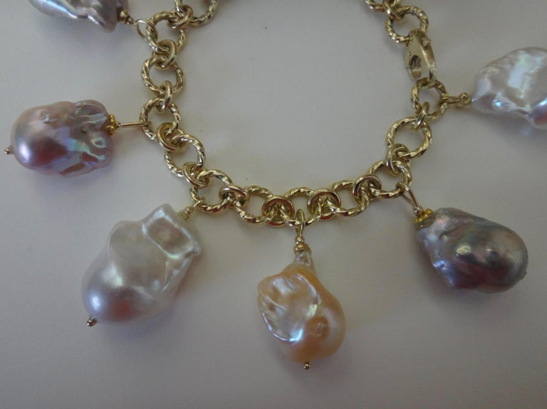 Michael Kneebone Baroque Colored Pearl 18 Karat Gold Charm Bracelet For Sale 5