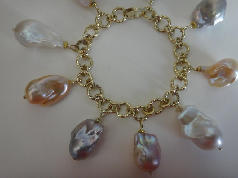 Michael Kneebone Baroque Colored Pearl 18 Karat Gold Charm Bracelet For Sale 7