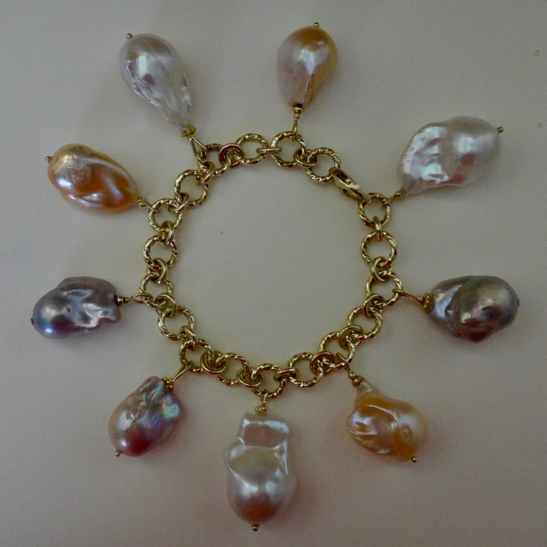Michael Kneebone Baroque Colored Pearl 18 Karat Gold Charm Bracelet For Sale 3