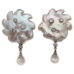 Michael Kneebone Baroque Pearl Diamond Crystal Briolette Dangle Earrings