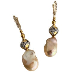 Michael Kneebone Baroque Pearl Diamond Granulated Bead Dangle Earrings